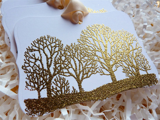 embossed wedding inspiration from Etsy gold trees favor tags