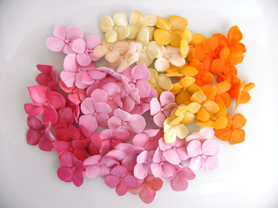 fondant wedding finds to add sweetness to handmade weddings colorful hydrangea petals