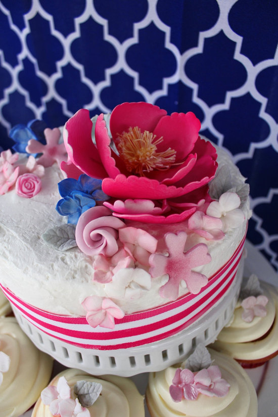 fondant wedding cake flowers pink peonies