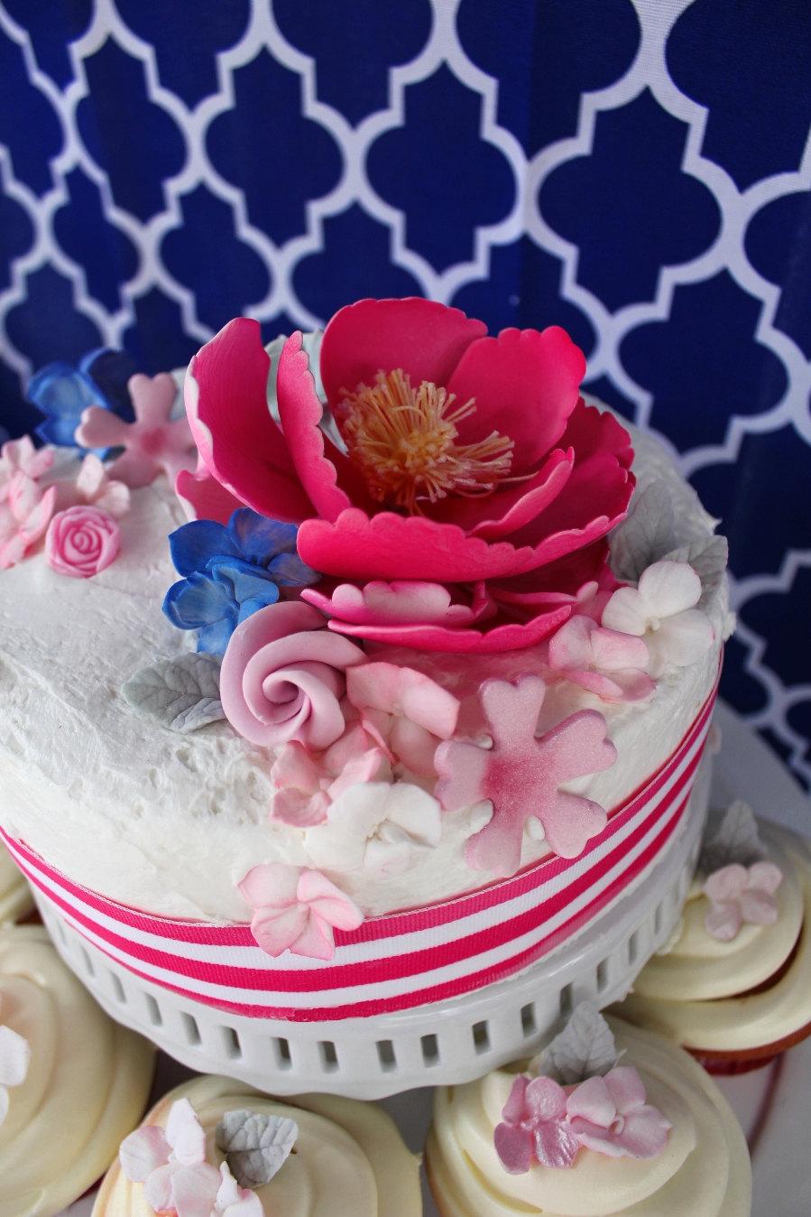 Cake With Fondant Flowers : fondant wedding cake flowers pink peonies OneWed.com