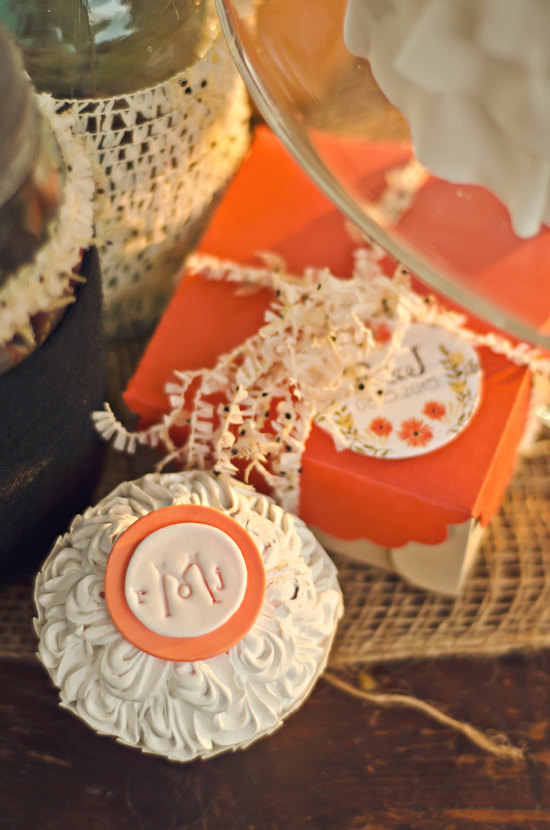 fondant wedding finds to add sweetness to handmade weddings monogrammed topper white orange
