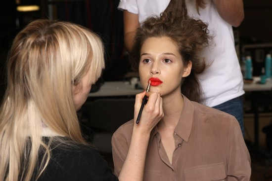 bridal beauty inspiration London fashion week wedding makeup ideas Paul Smith red lips