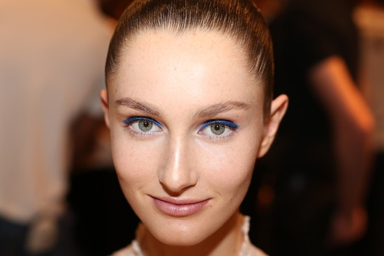 bridal beauty inspiration wedding day makeup Versace Milan fashion week blue lids 1