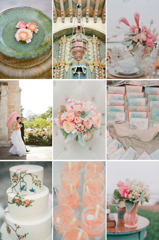 gorgeous wedding colors succulent green pastel peach pink