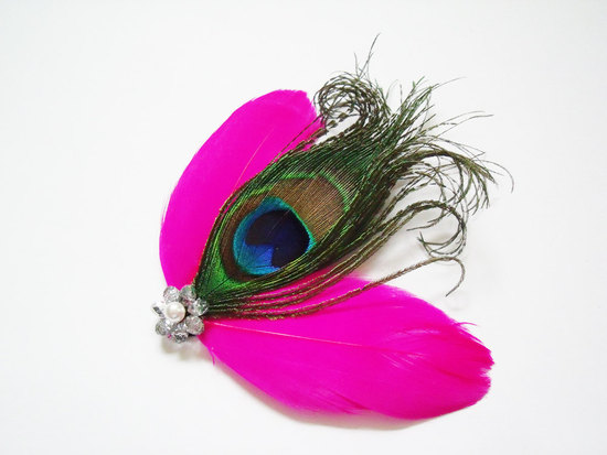 bold wedding ideas electric colors feather fascinator bridal hair accessories