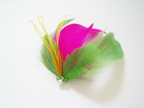 bold wedding ideas electric colors neon feather fascinator