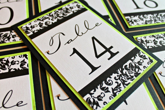 bold wedding ideas electric colors lime green black ivory damask