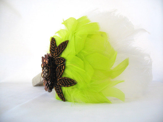 bold wedding ideas electric colors feather headband