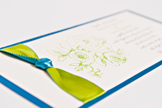 bold wedding ideas electric colors ivory blue green invitation