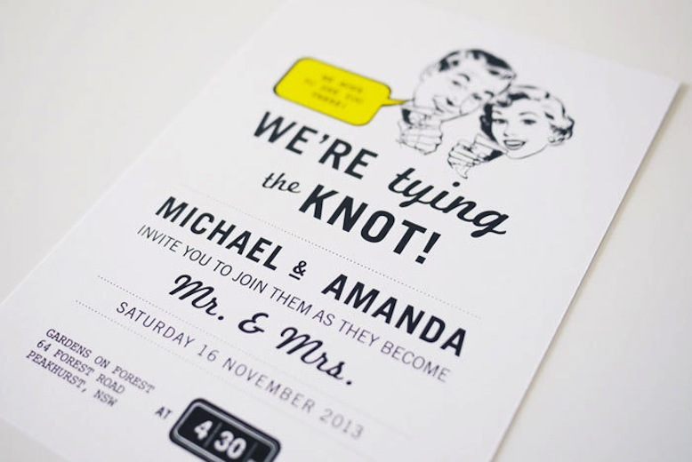 retro wedding treasures for vintage brides tying the knot invite