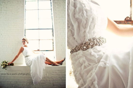 vintage inspired wedding dress with beaded sash