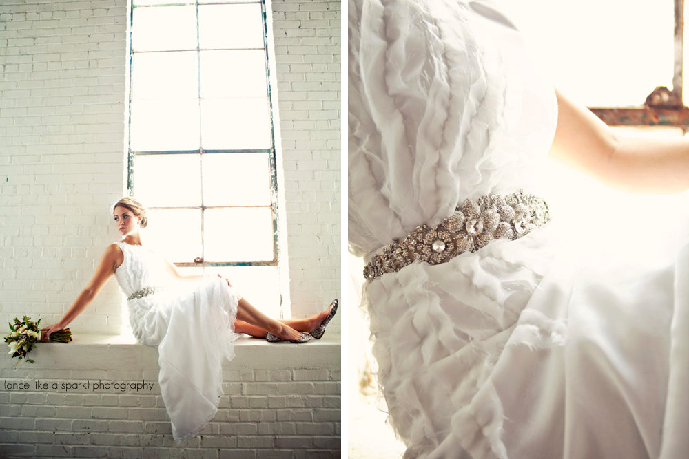 Vintage inspired wedding dress with beaded sash for Beaded vintage style wedding dresses