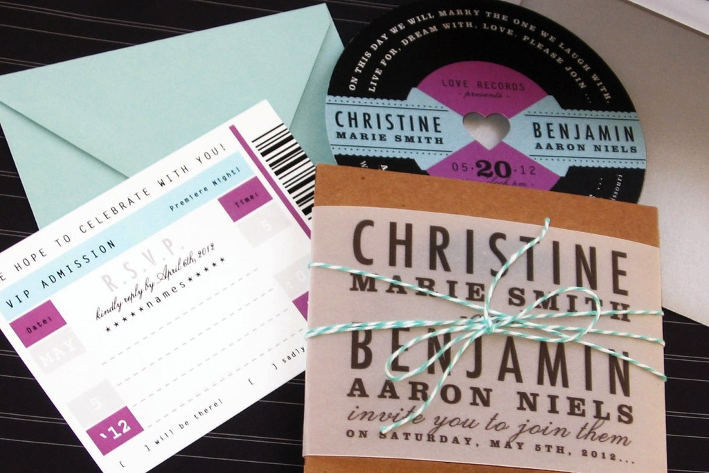 retro wedding treasures for vintage brides love record invites