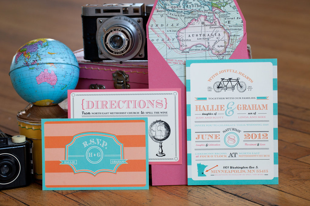 retro wedding invitation suite for travel lovers