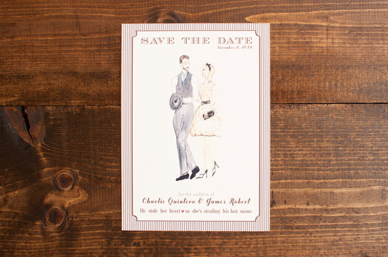 retro wedding invitations vogue save the date