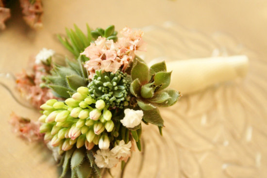 elegant bridal bouquet succulent green light pink