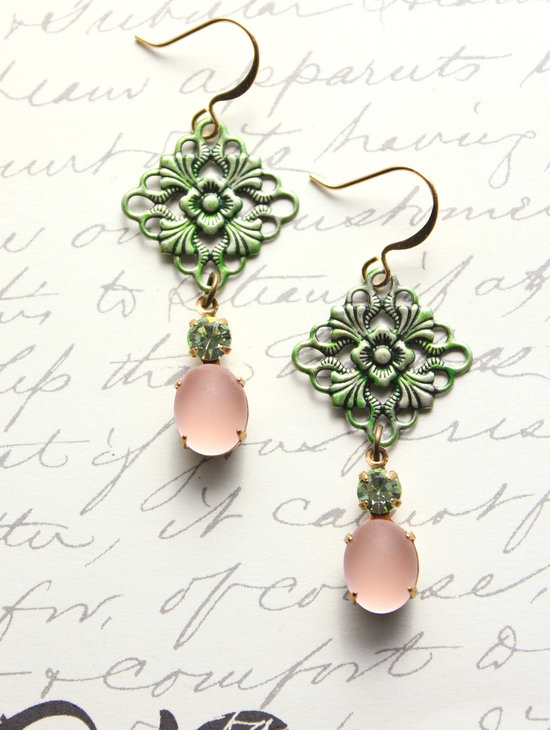 wedding color inspiration succulent green blush pink peach earrings
