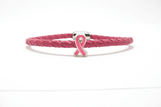 something pink for the charitable bride breast cancer awareness leather bracelet