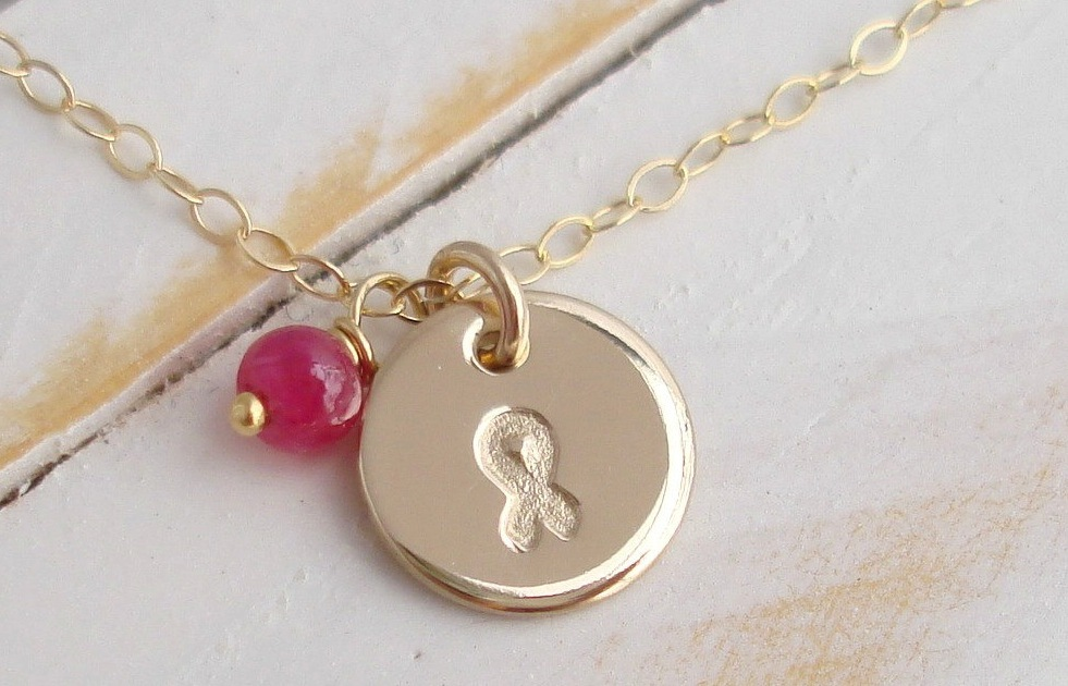 something pink for the charitable bride breast cancer awareness gold necklace