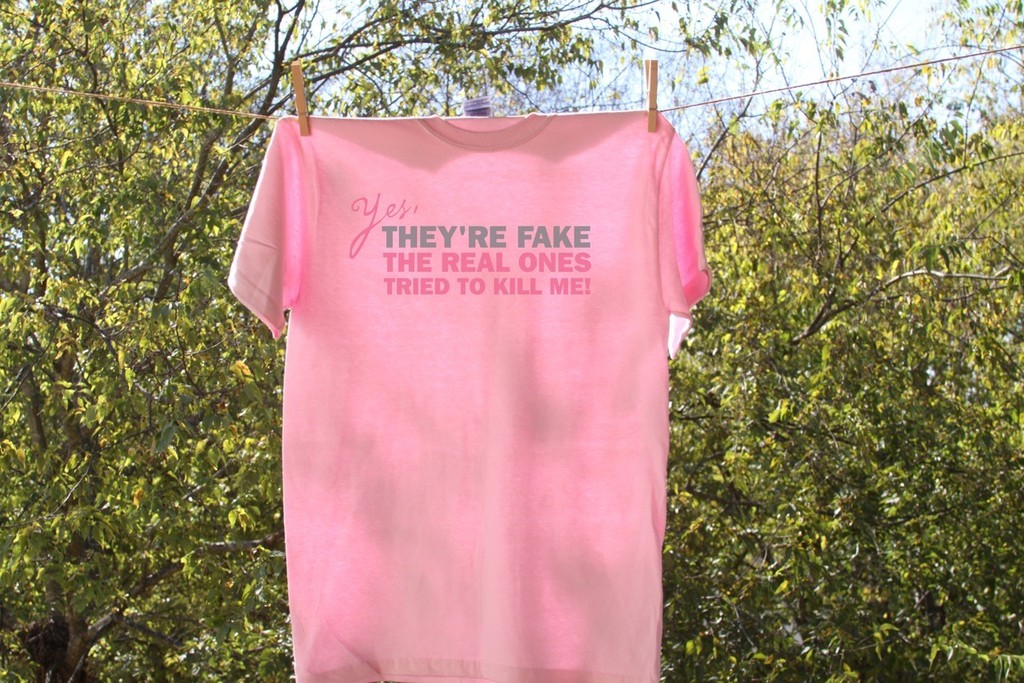 something pink for the charitable bride breast cancer awareness funny tee