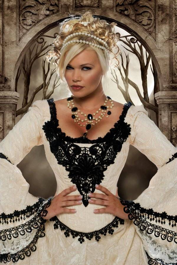 Gothic wedding style handmade bridal gowns in bold colors for Gothic style wedding dresses
