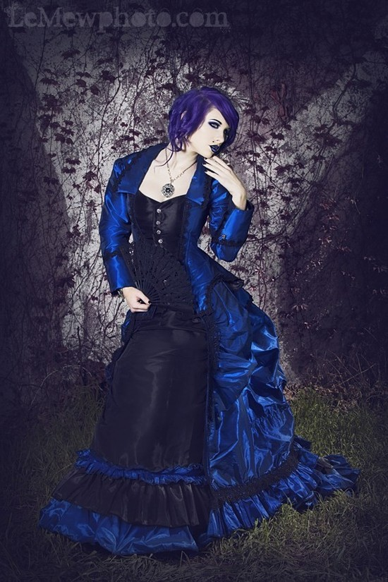 gothic wedding style handmade bridal gowns in bold colors 7