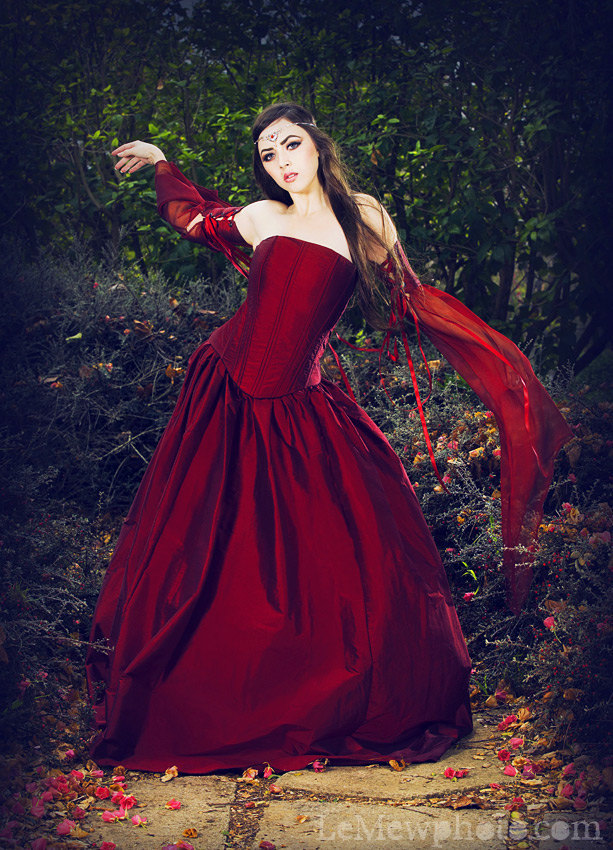 gothic wedding style handmade bridal gowns in bold colors 5