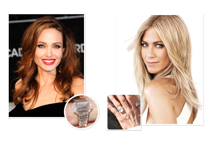 celebrity wedding bling faceoff Jennifer Aniston Angelina Jolie