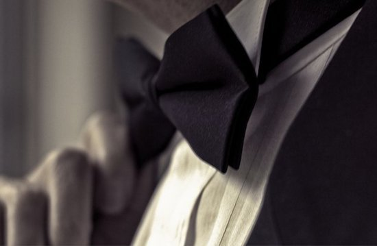 black gucci bow tie for grooms