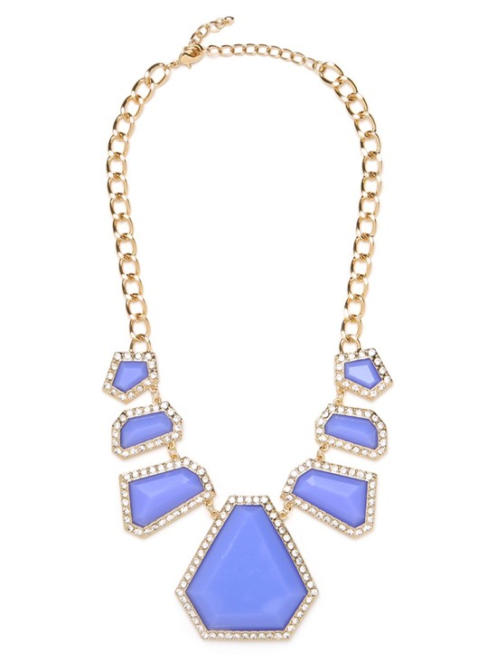 photo of statement necklace for brides gold periwinkle