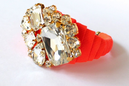 photo of bejeweled bride wedding accessories neon coral bracelet