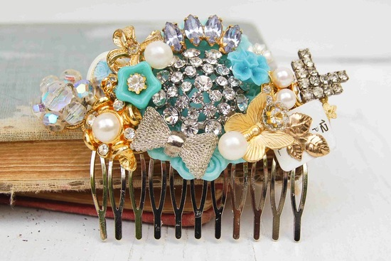 bejeweled bride wedding accessories something blue hair comb