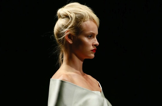 bridal updo wedding hair inspiration fashion week Prada 1