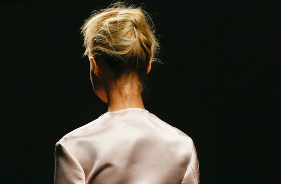 bridal updo wedding hair inspiration fashion week Prada 2