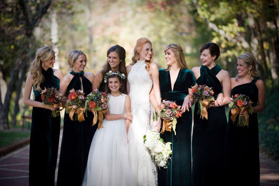 Emerald Green For Elegant Fall Weddings Bridal Party Gowns