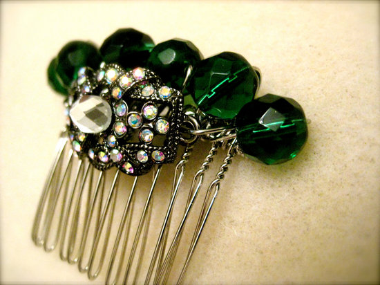 emerald green for elegant fall weddings bridal hair comb