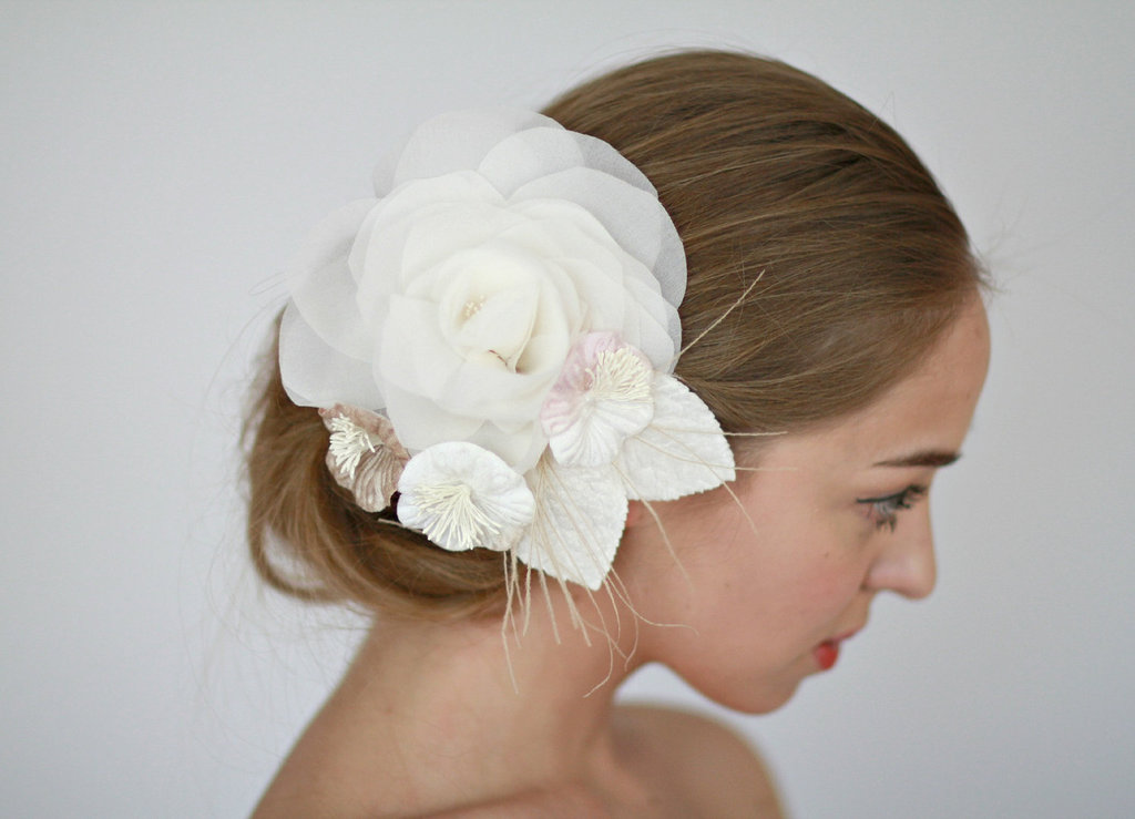 fall winter wedding ideas handmade velvet treasures from Etsy hair flower 2