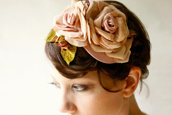 fall winter wedding ideas handmade velvet treasures from Etsy rose fascinator