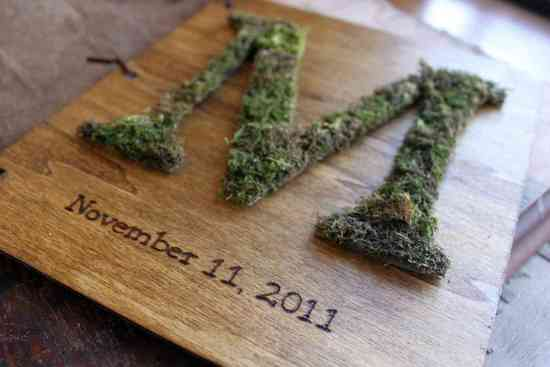 memorable moss wedding decor for ceremony reception monogram guest book