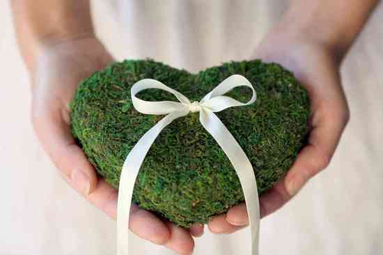 memorable moss wedding decor for ceremony reception ring bearer pillow