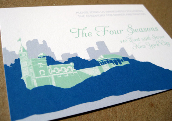 new york wedding inspiration handmade Etsy weddings blue green invitation