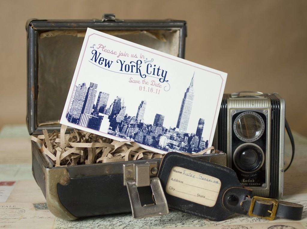 new york wedding inspiration handmade Etsy weddings vintage skyline save the date