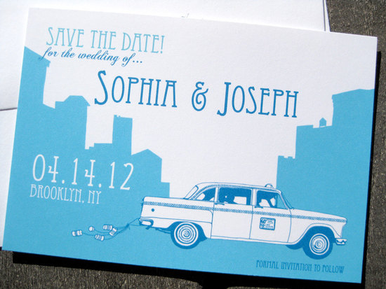 new york wedding inspiration handmade Etsy weddings white blue taxi save the date