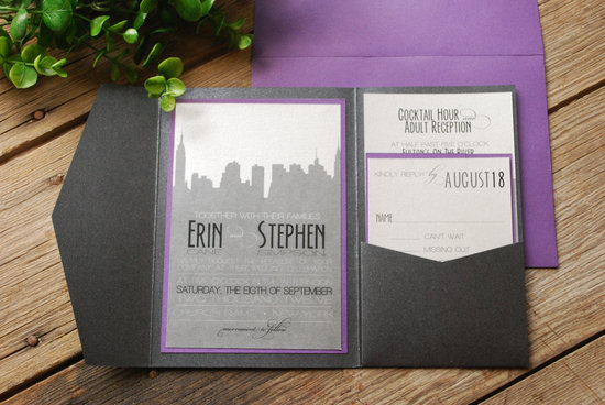 new york wedding inspiration handmade Etsy weddings purple silver ecru charcoal