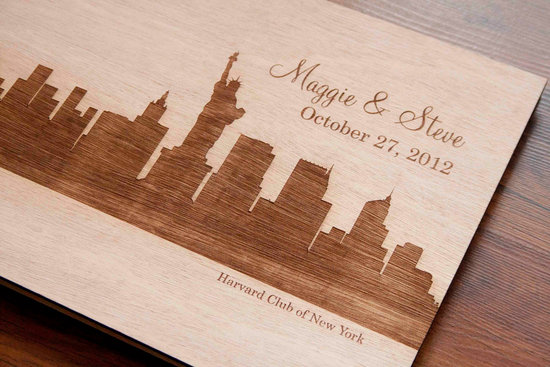 new york wedding inspiration handmade Etsy weddings wood guest book
