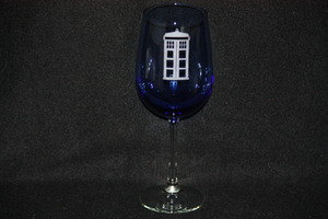 photo of Dr. Who TARDIS Etched Wine Glass via Etsy seller DrinkGeeky