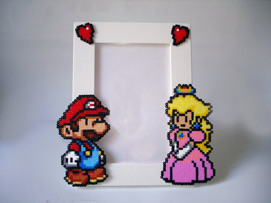 photo of Mario and Peach Picture Frame by Etsy seller BeadxBead