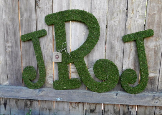 rustic moss wedding ceremony reception decor eco friendly custom monogram