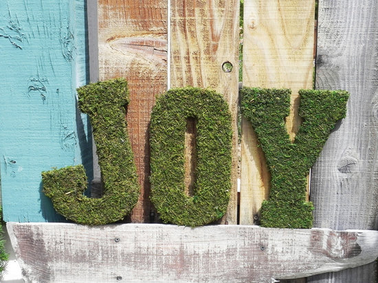 rustic moss wedding ceremony reception decor eco friendly joy sign