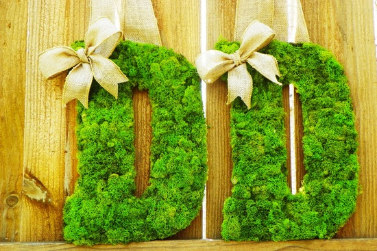 rustic moss wedding ceremony reception decor eco friendly bright green